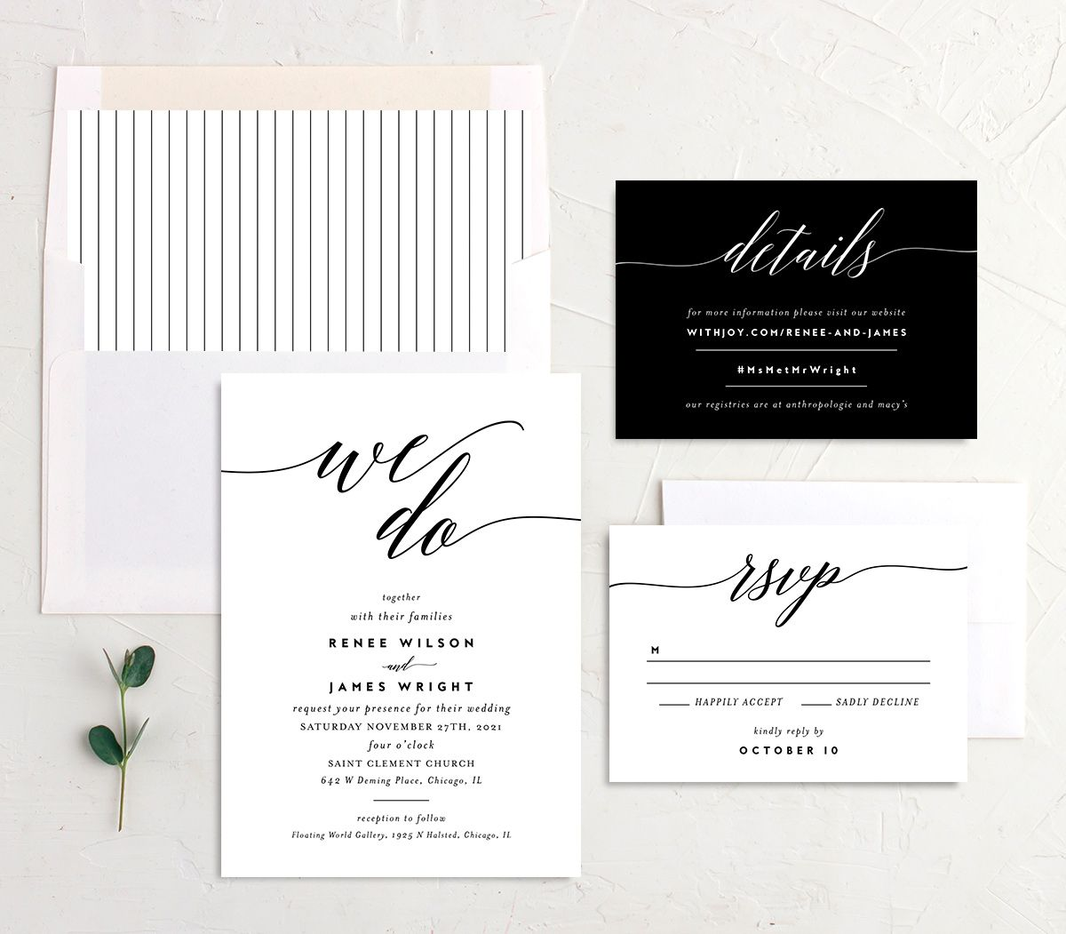 We Do Wedding Invite Suite in black