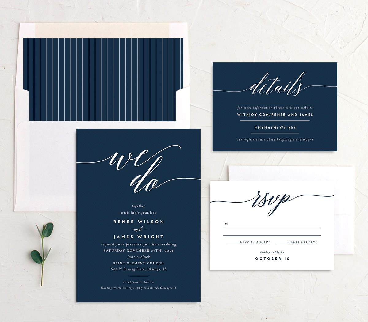 We Do Wedding Invite Suite in navy
