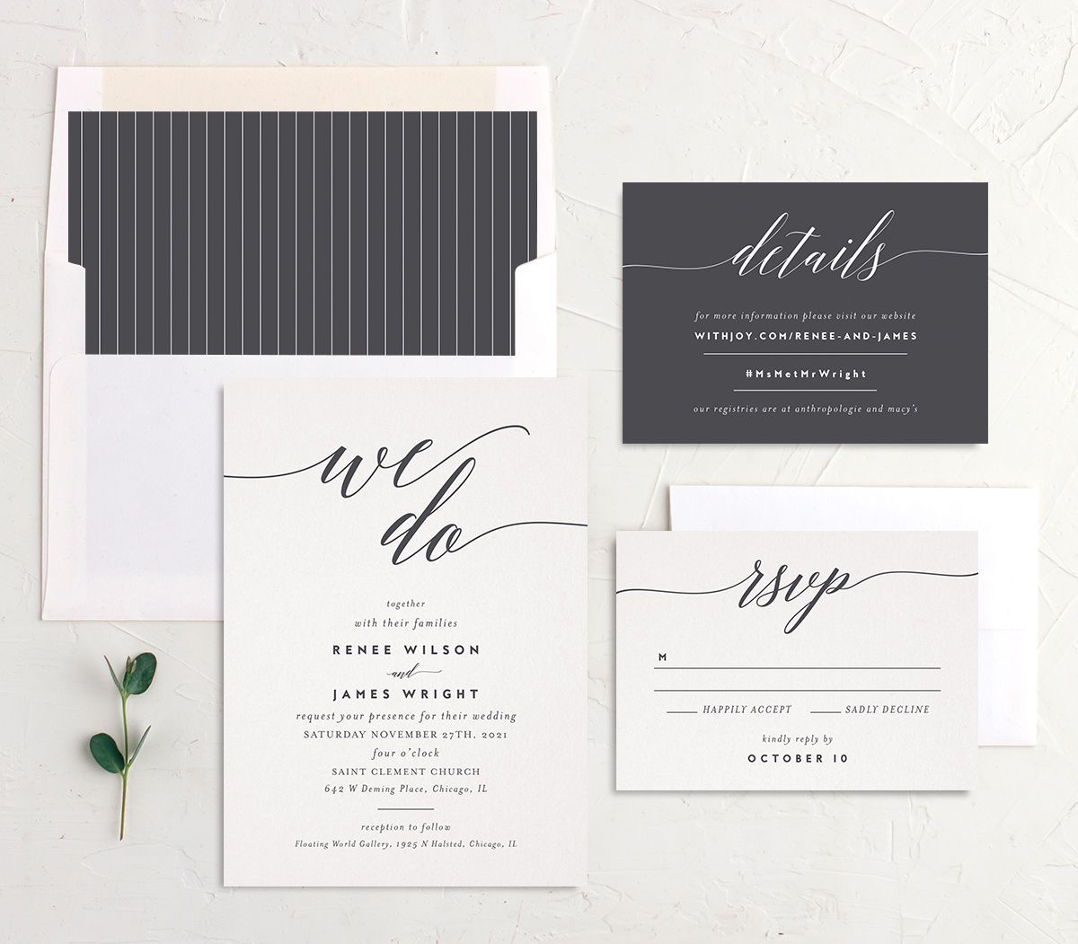 We Do Wedding Invite Suite in grey
