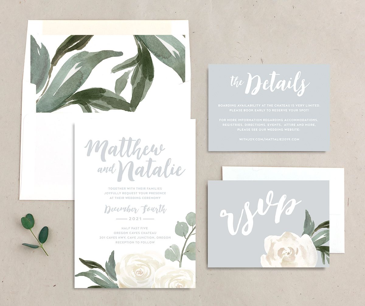 Wintry Floral invitation suite