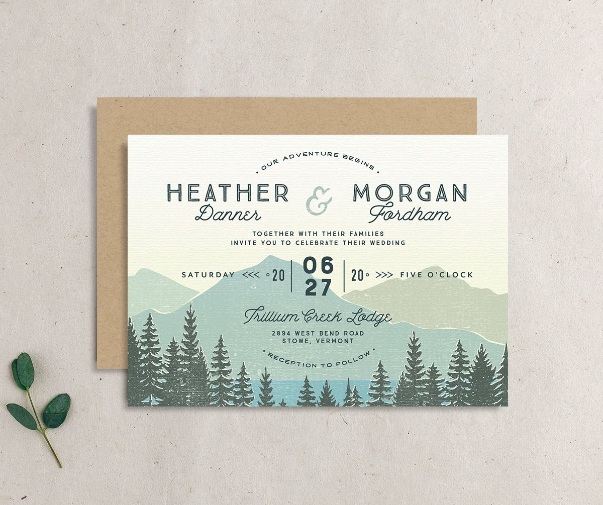 Vintage Mountain wedding invite closeup front & back