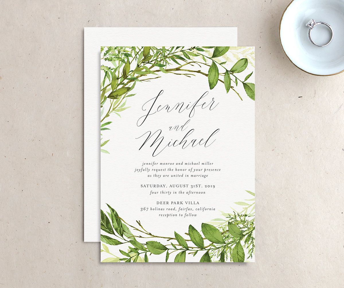 Watercolor Greenery wedding invite front & back