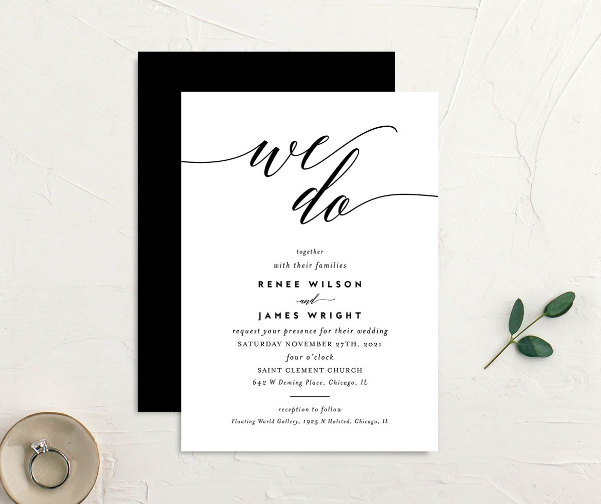 We Do Wedding Invites front & back in black