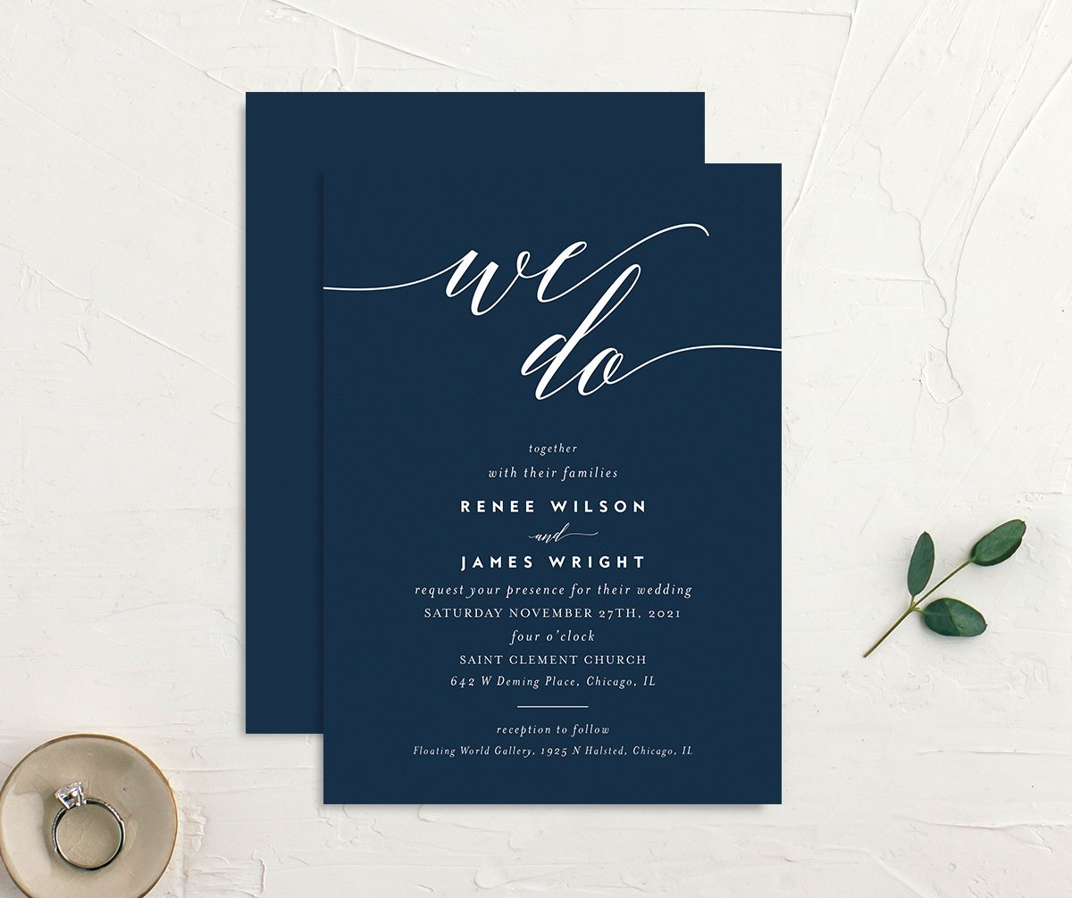We Do Wedding Invites front & back in navy