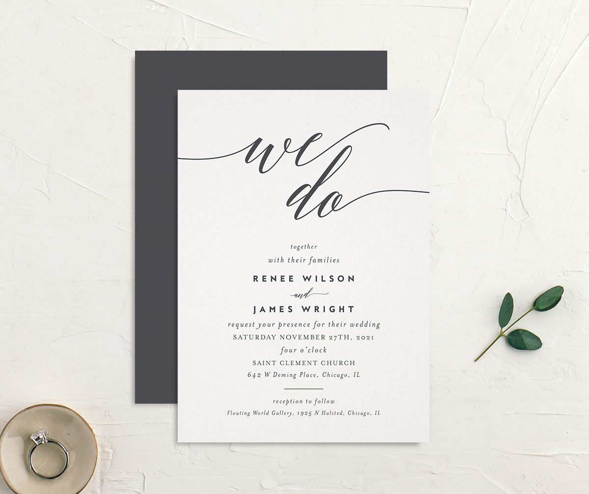 We Do Wedding Invites front & back in grey