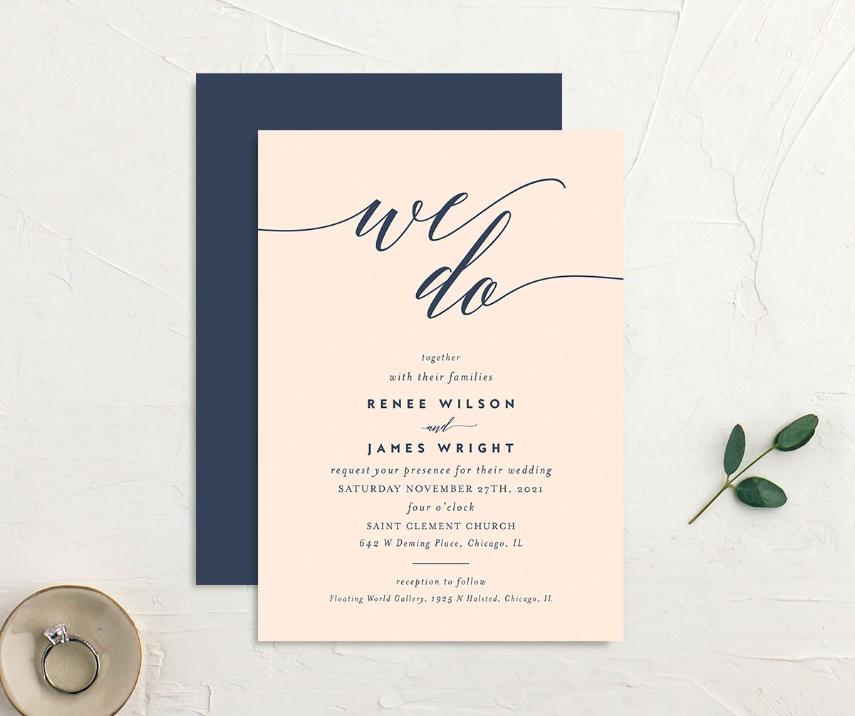 We Do Wedding Invites front & back in pink