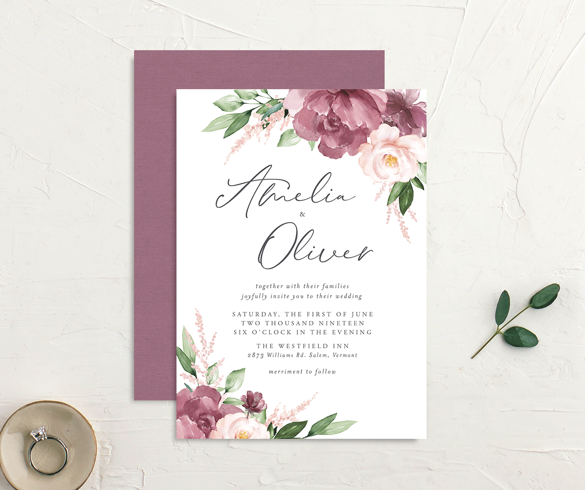 Purple Beloved Floral Wedding Invites