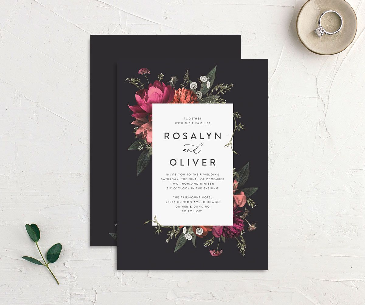 Blooming Botanical wedding invitation black