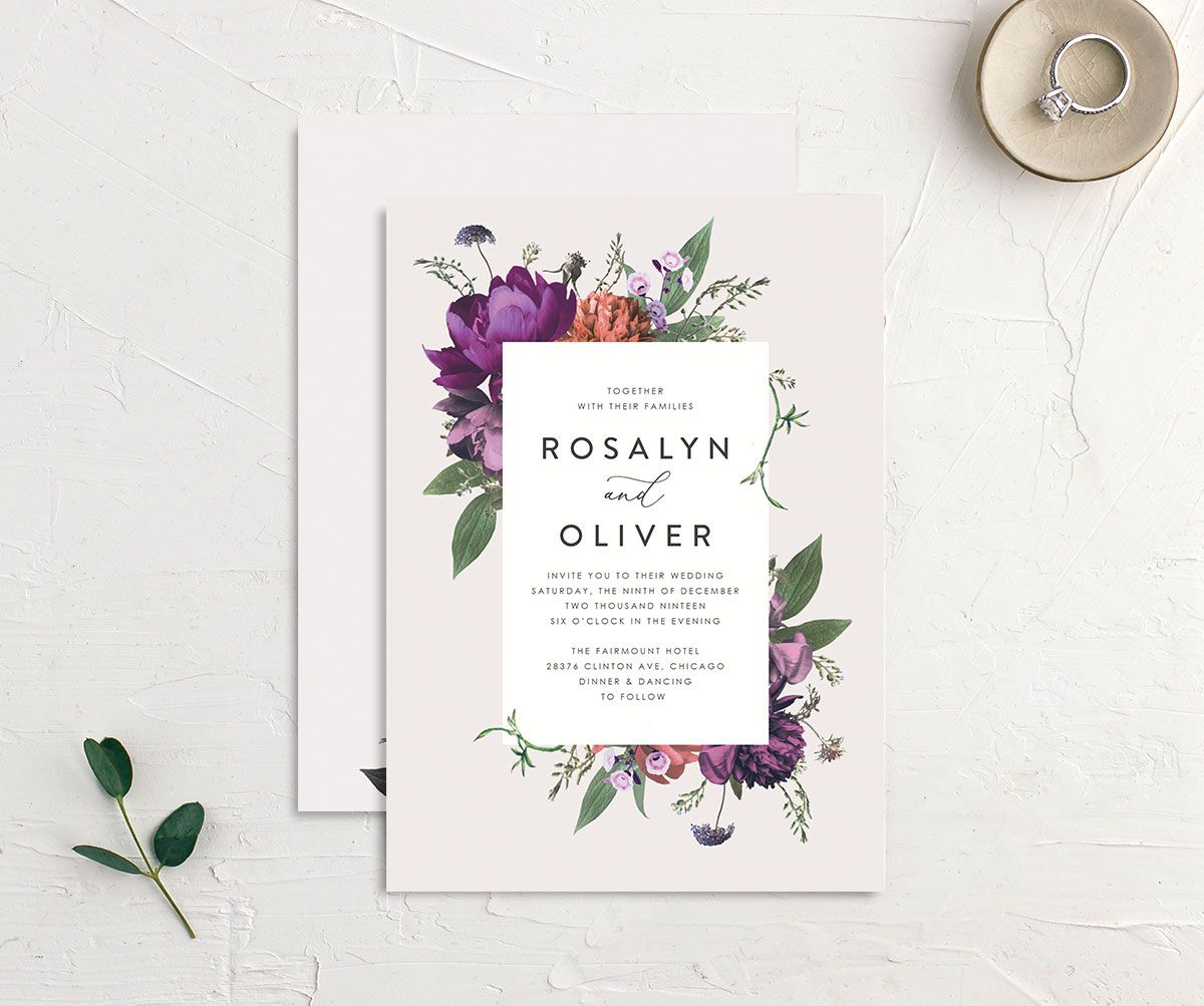 Blooming Botanical wedding invitation purple