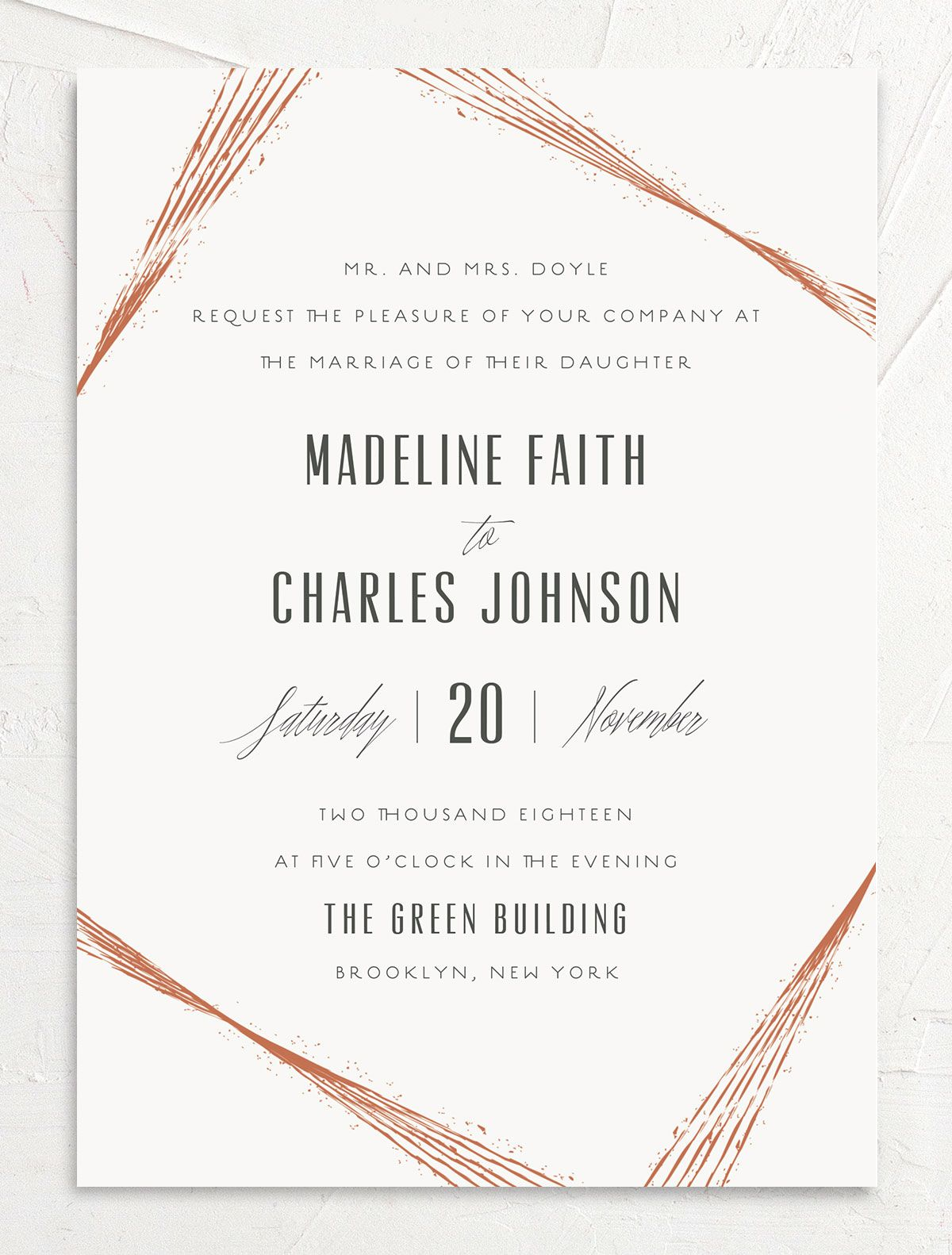 elegant industrial wedding invitations