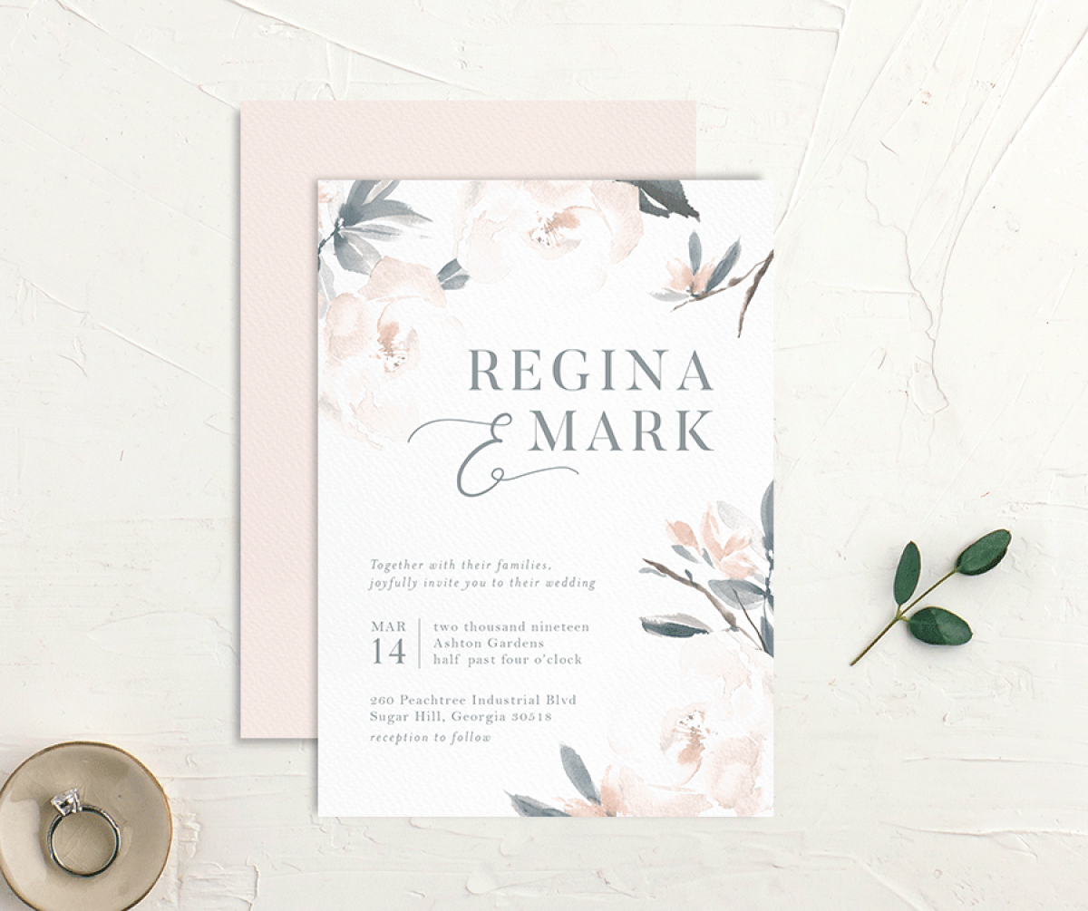 Elegant Garden wedding invite in blue styled