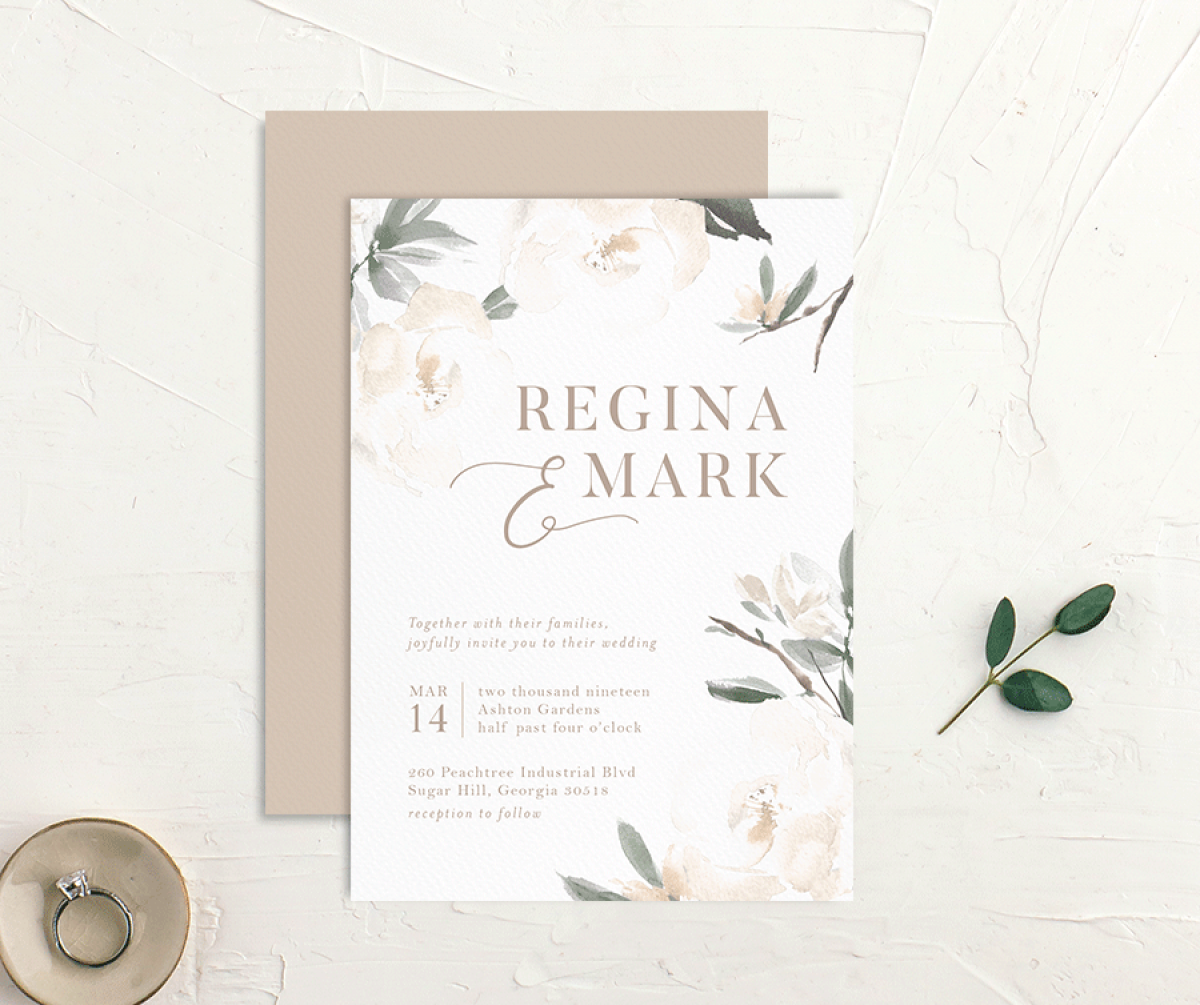 Elegant Garden wedding invite in green styled