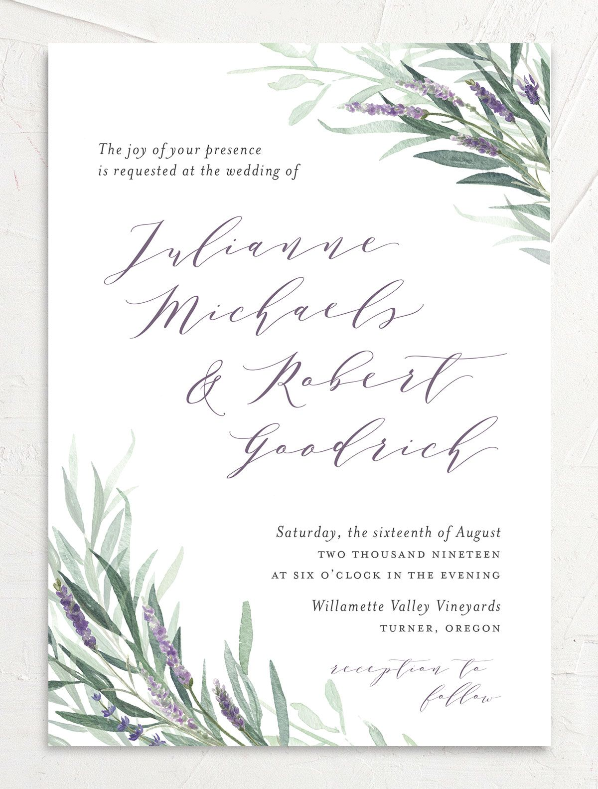 lavender sage wedding invitation