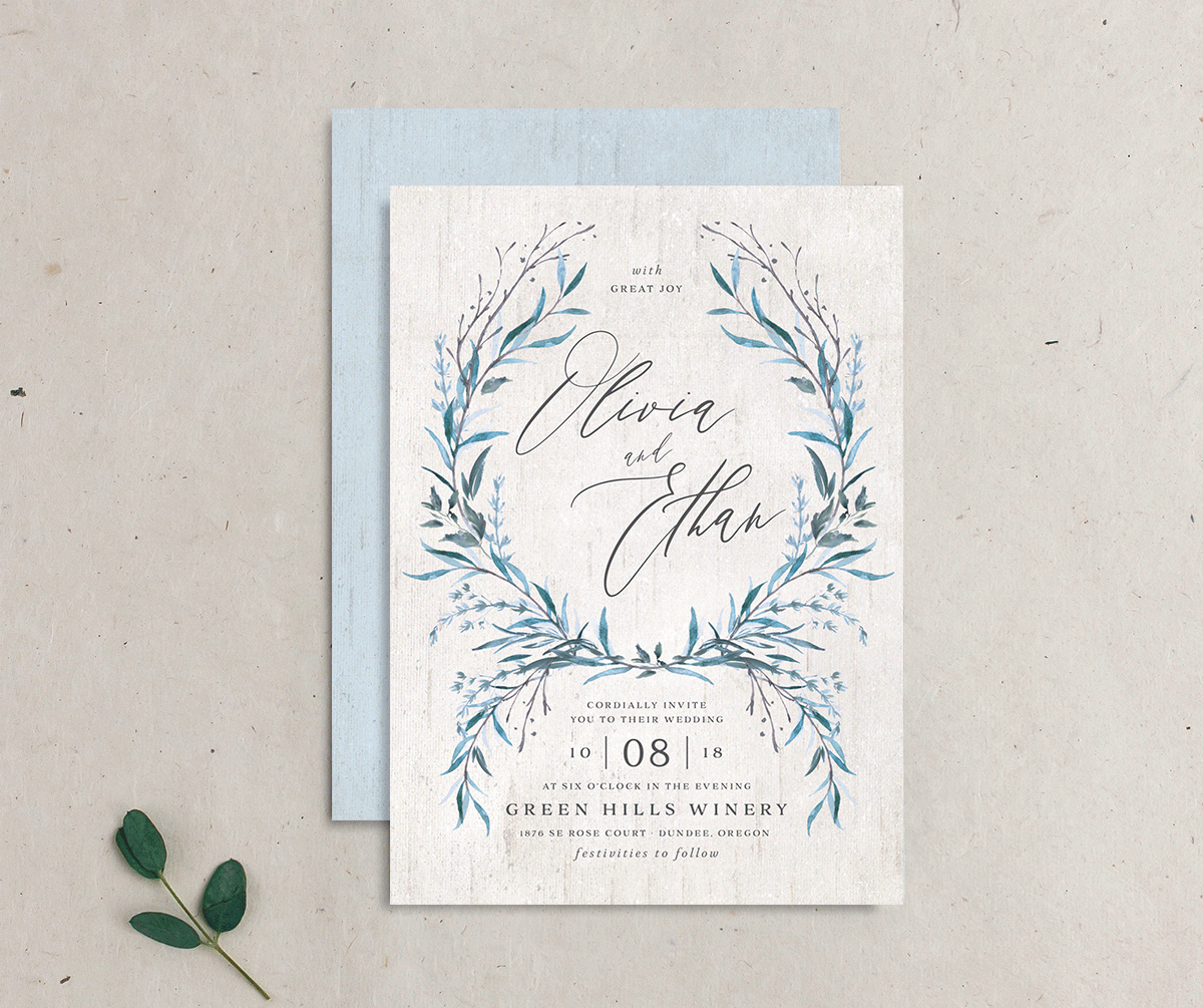 Natural Laurel wedding invitation