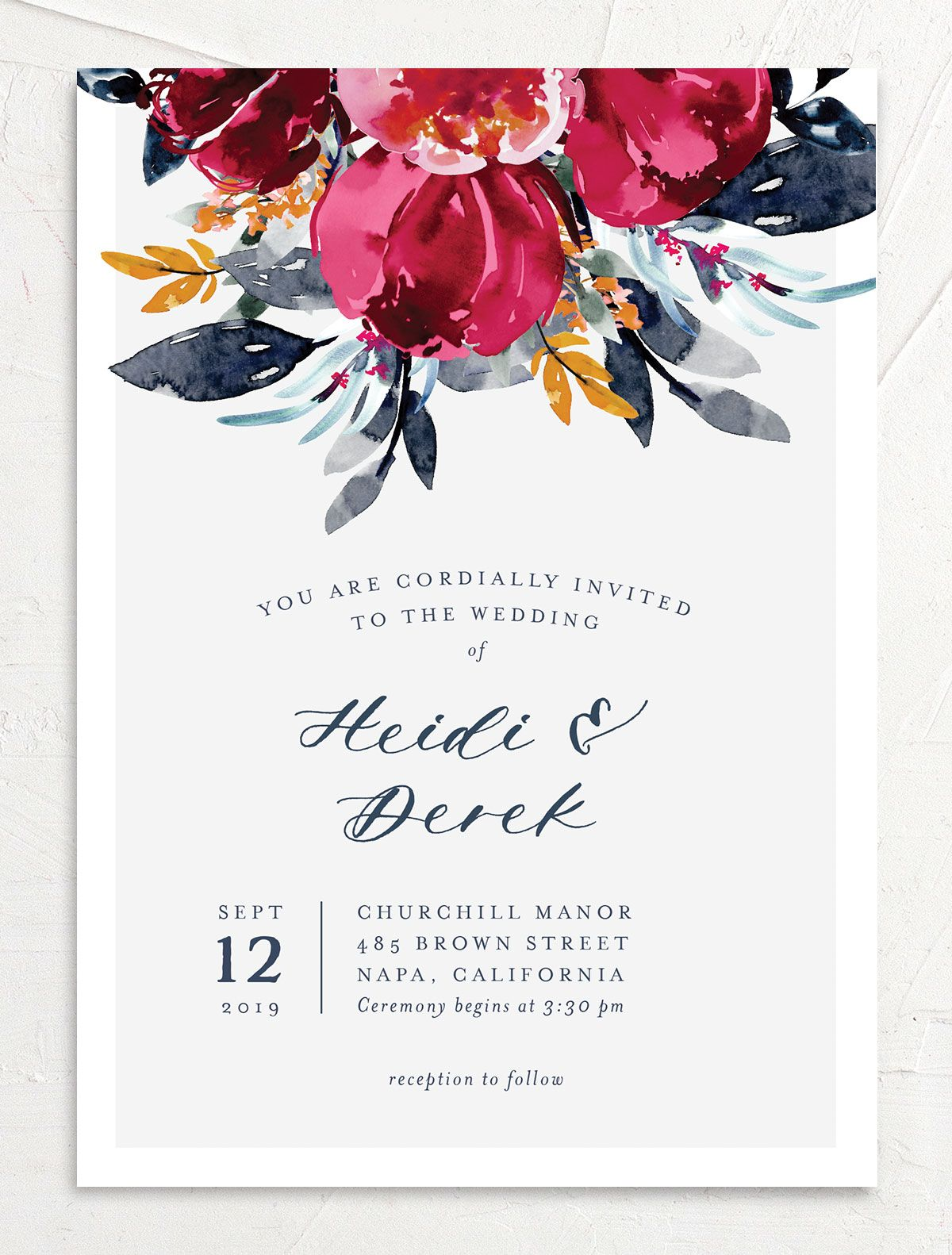 Painted Bouquet Wedding Invitation