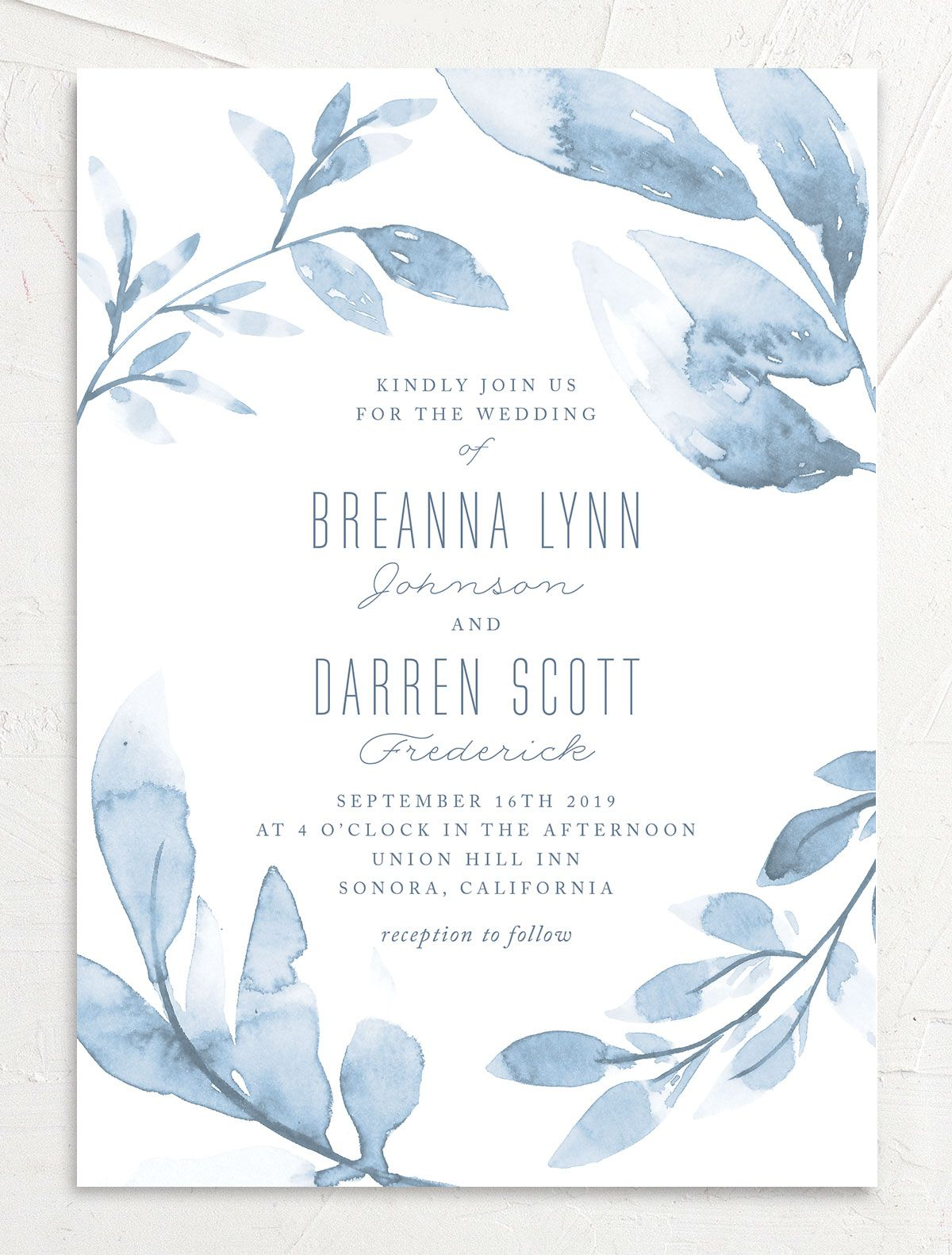 painted leaves wedding invites
