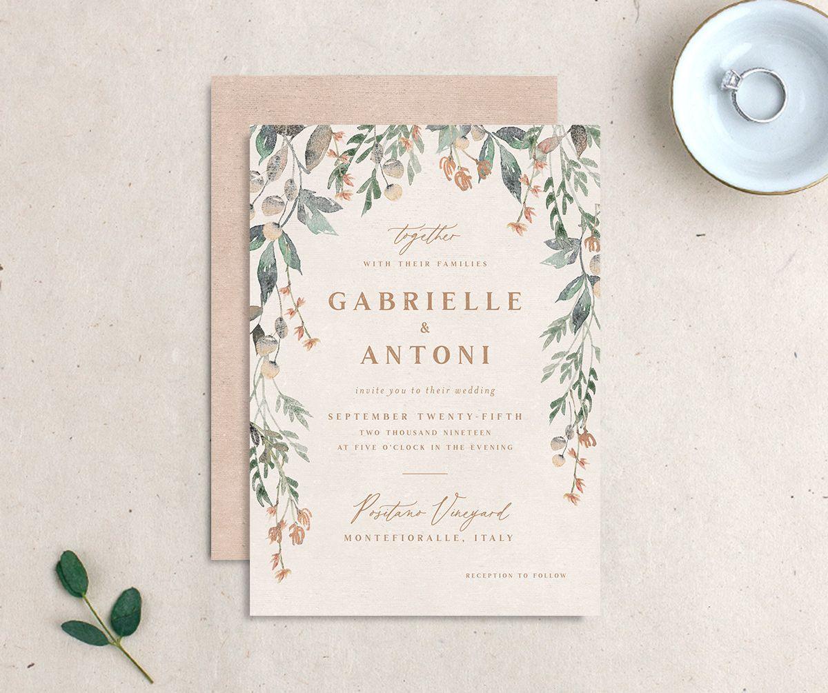Rustic Vines wedding invitation