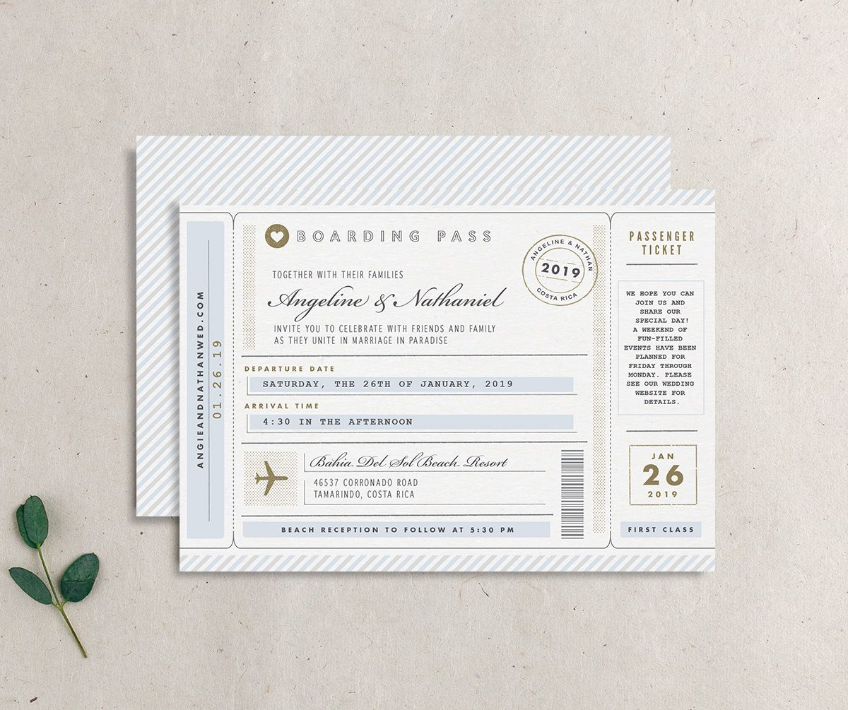 Vintage Boarding Pass wedding invitation blue