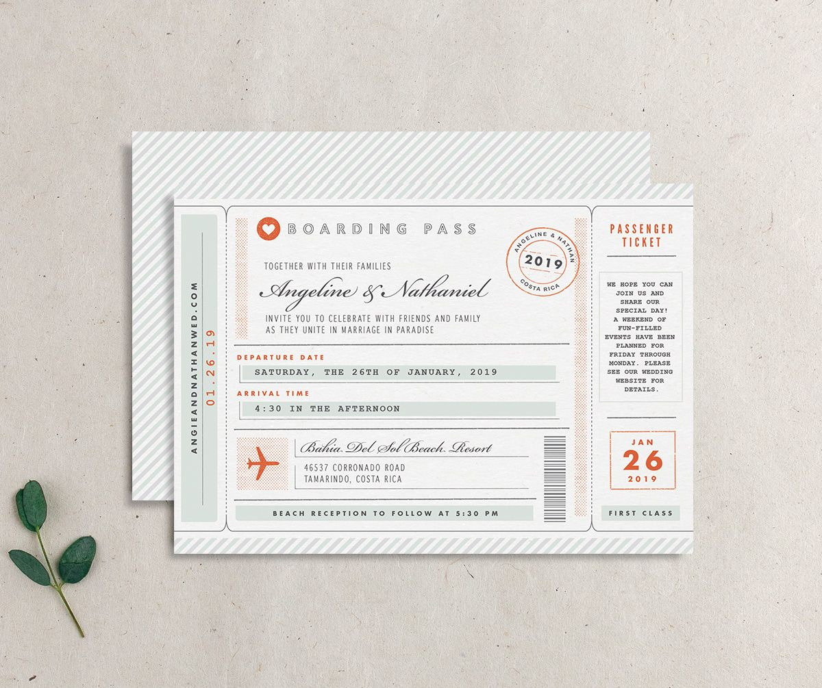 Vintage Boarding Pass wedding invitation green