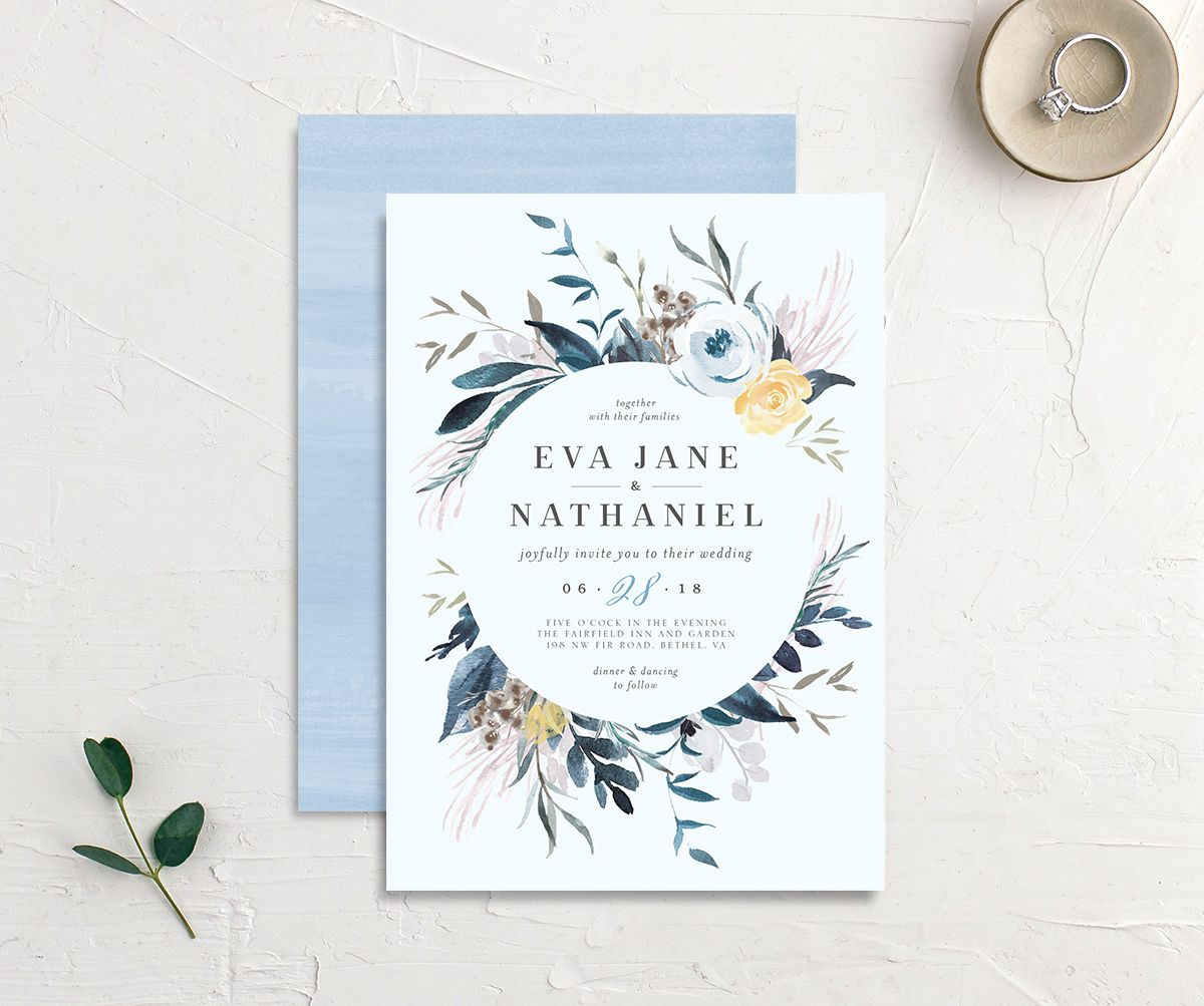 Wild wreath wedding invites in blue