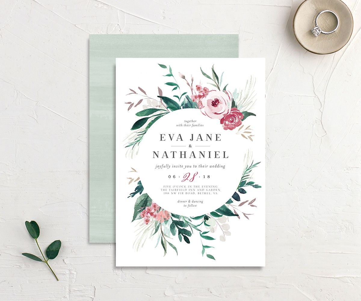 Wild wreath wedding invitation in green