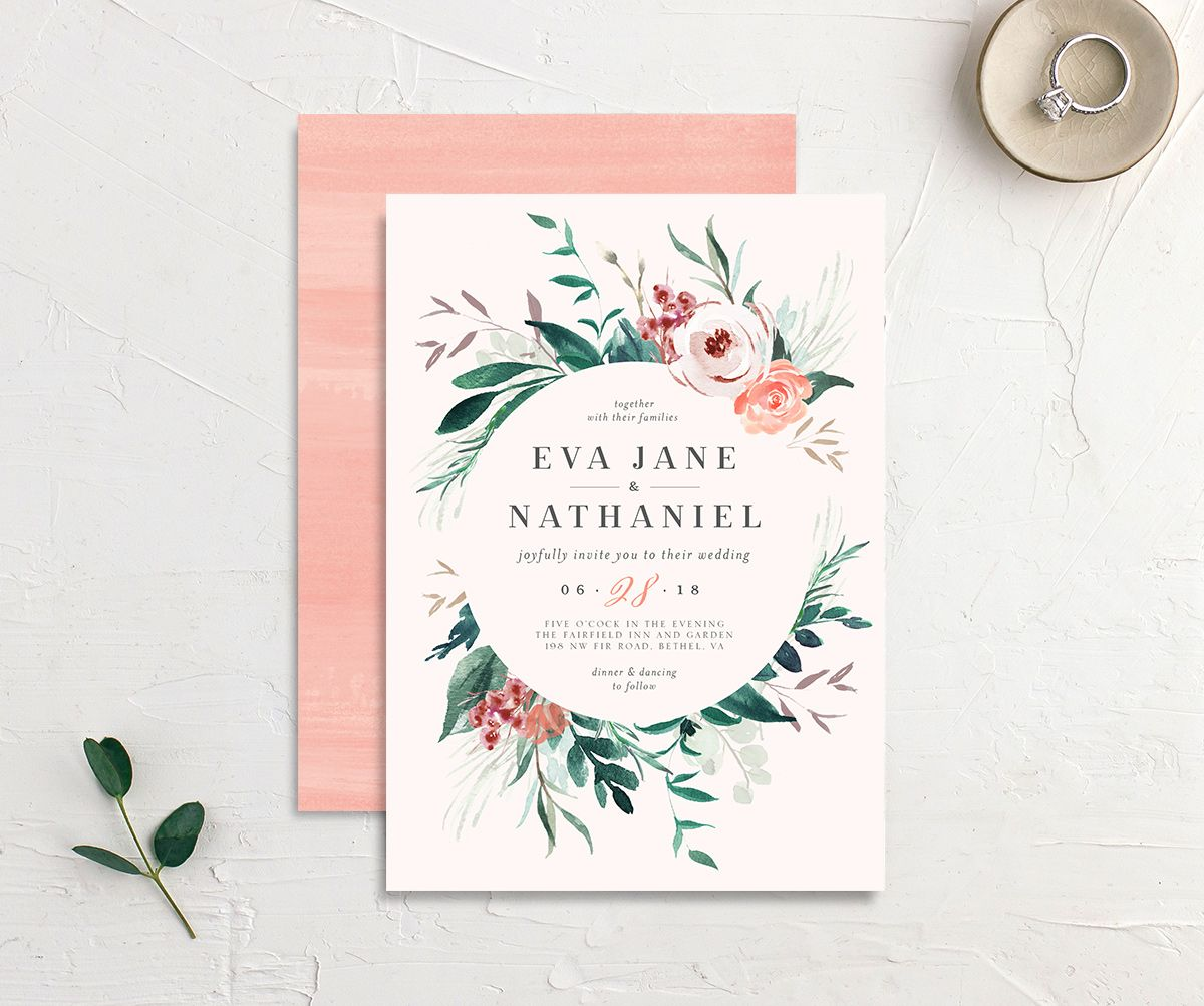 Wild wreath wedding invite in pink