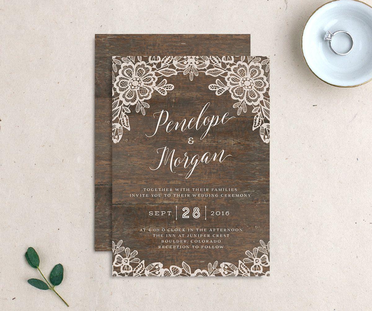 Woodgrain Lace Wedding Invitations | elli
