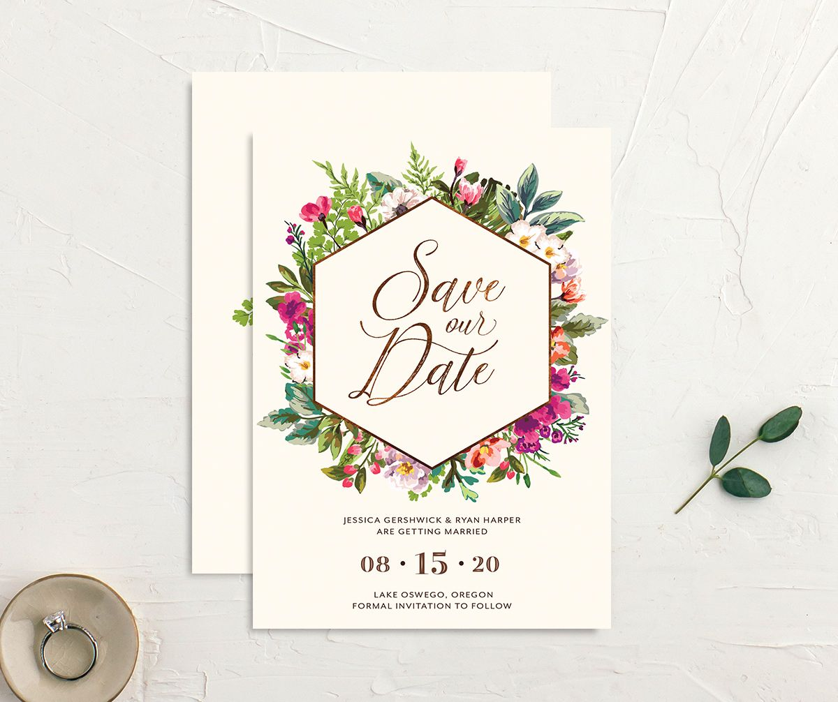 Bronze Floral Frame Save the Dates closeup