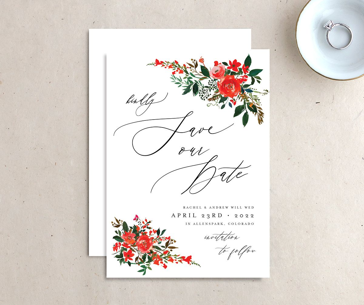 Cascading Altar save the date front & back in bright red