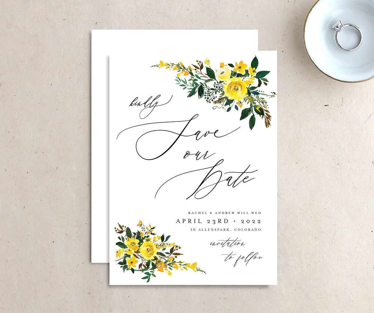 Cascading Altar save the date front & back in yellow