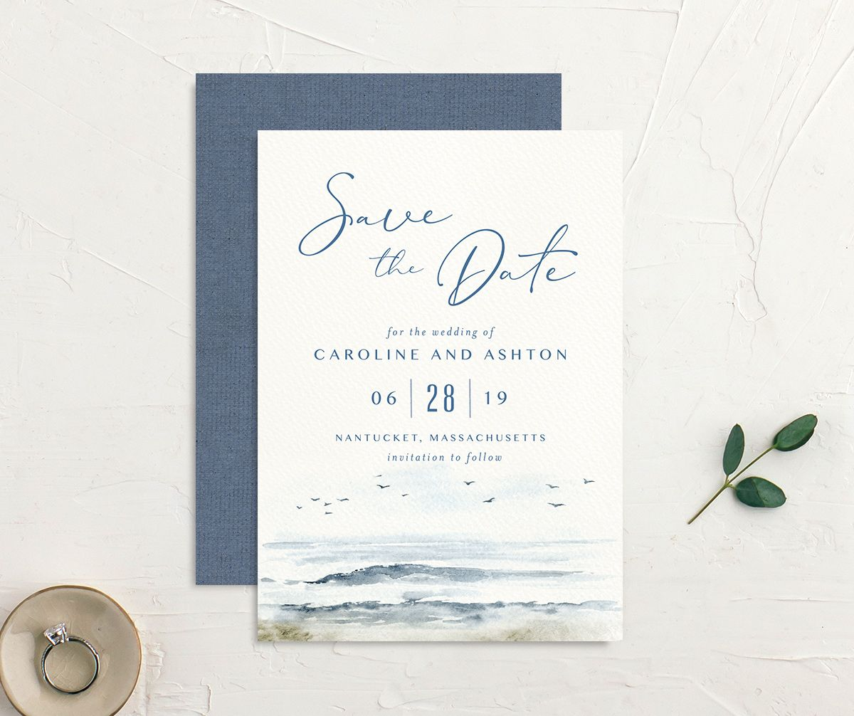 Coastal Love wedding save the date front & back in blue