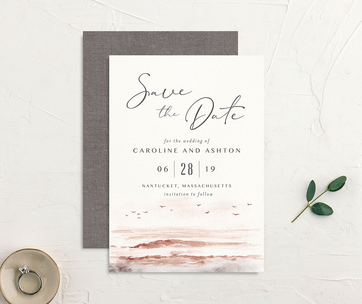 Coastal Love wedding save the date front & back in grey