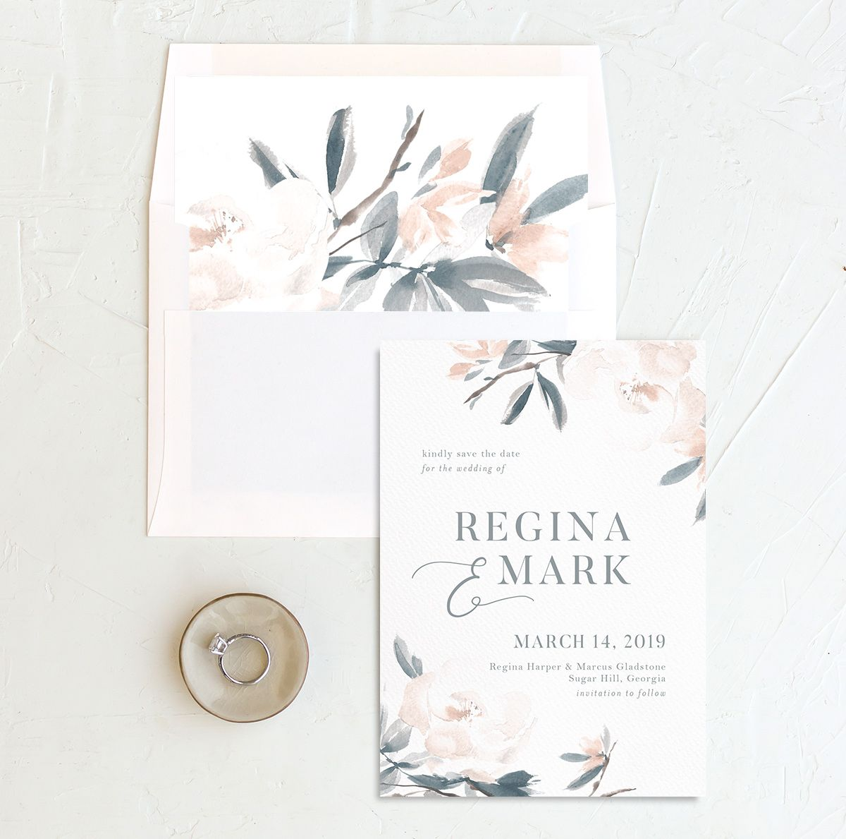 Elegant Garden wedding announcement in blue