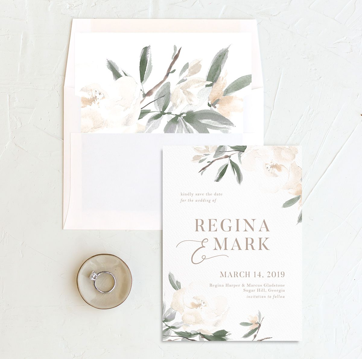 Elegant Garden wedding announcement in green