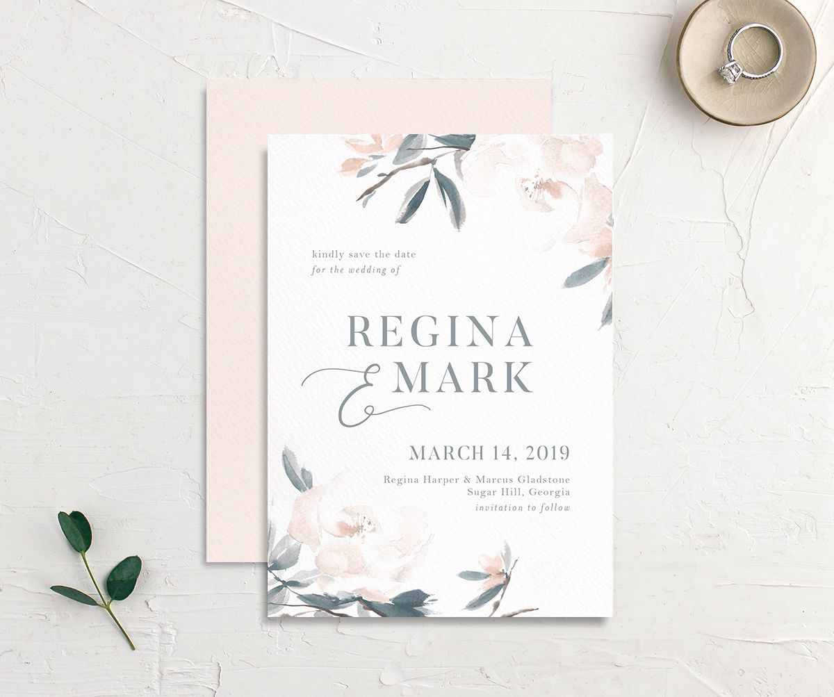 Elegant Garden wedding invitation in blue