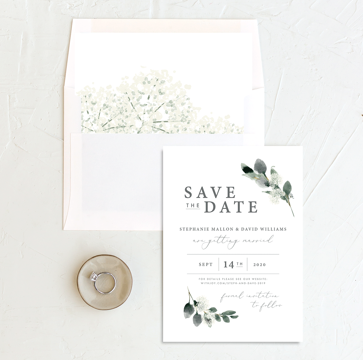 Elegant Greenery save the date w/ liner