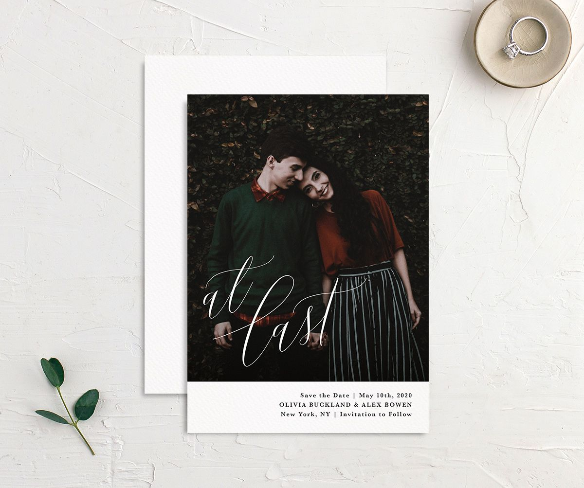 Engaged At Last Photo Wedding Save the Date front & back