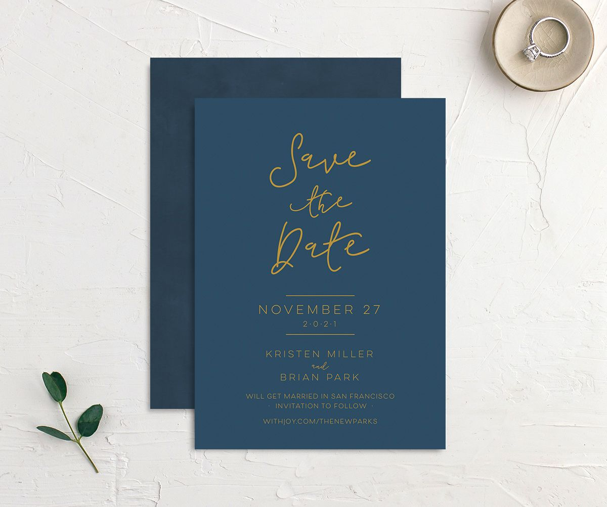 Gold Calligraphy Wedding Save the Dates front & back in blue