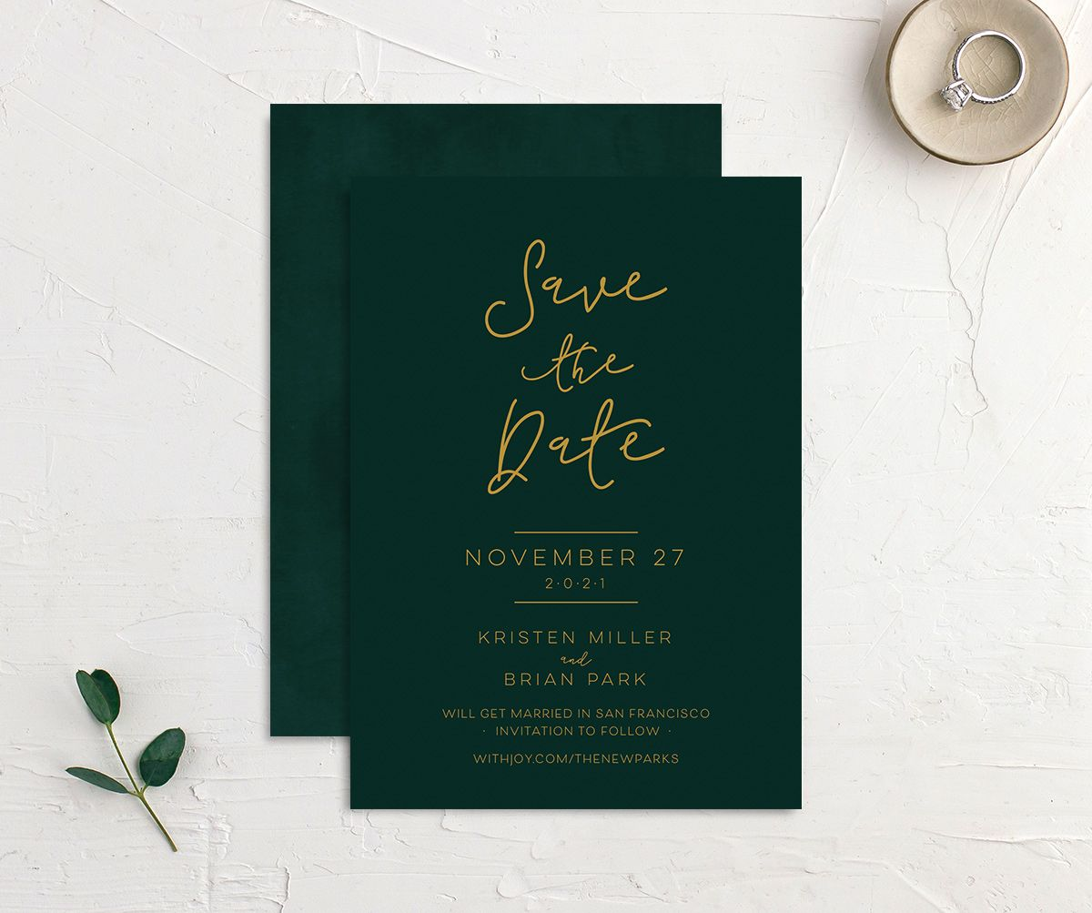 Gold Calligraphy Wedding Save the Dates front & back in green