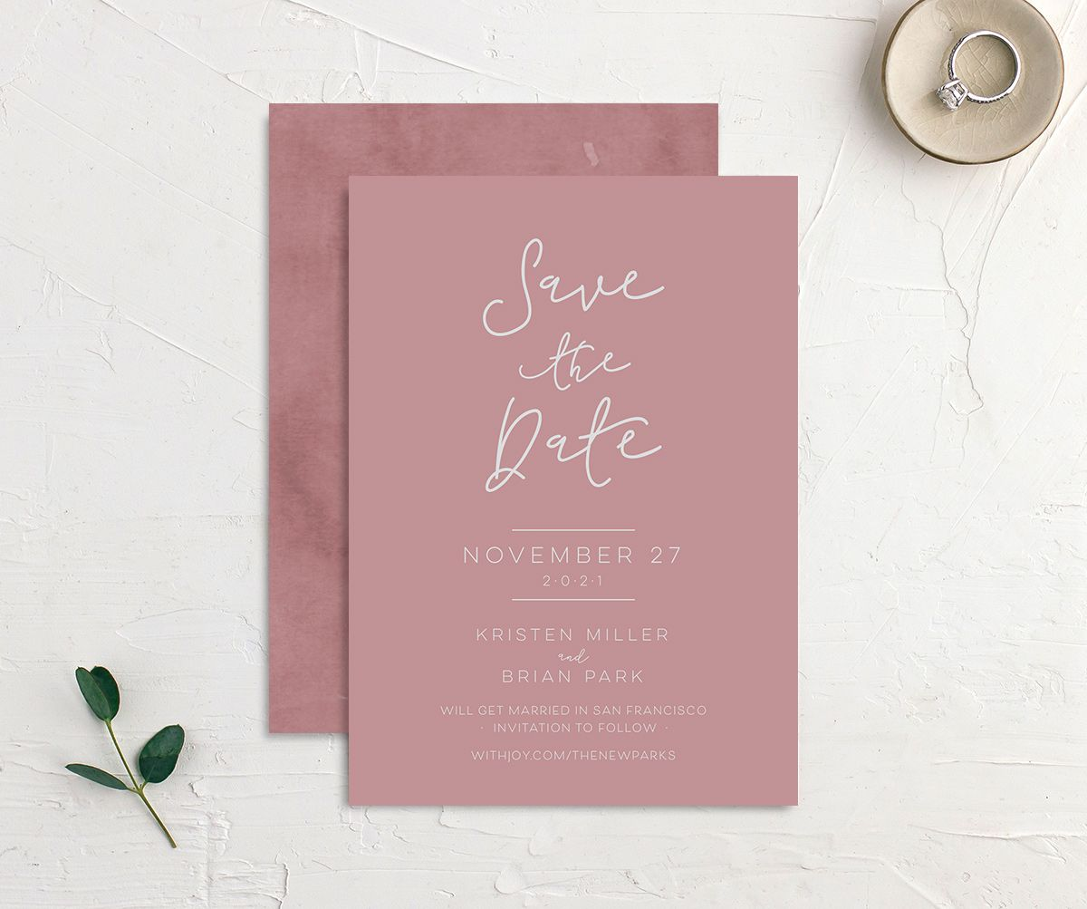 Gold Calligraphy Wedding Save the Dates front & back in pink