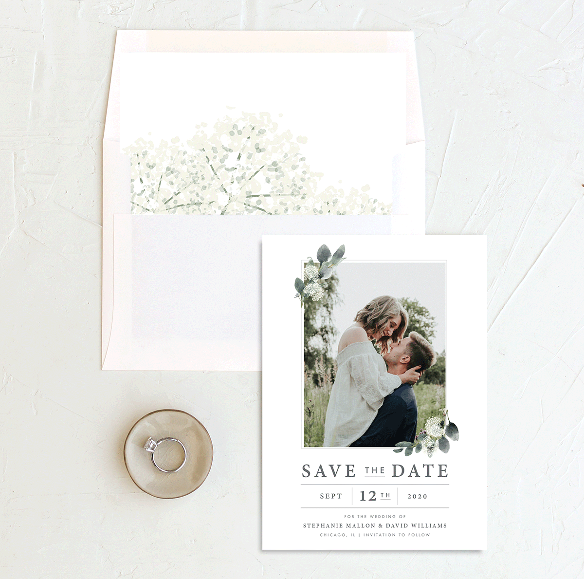 Greenery Branches photo save the date w/ liner