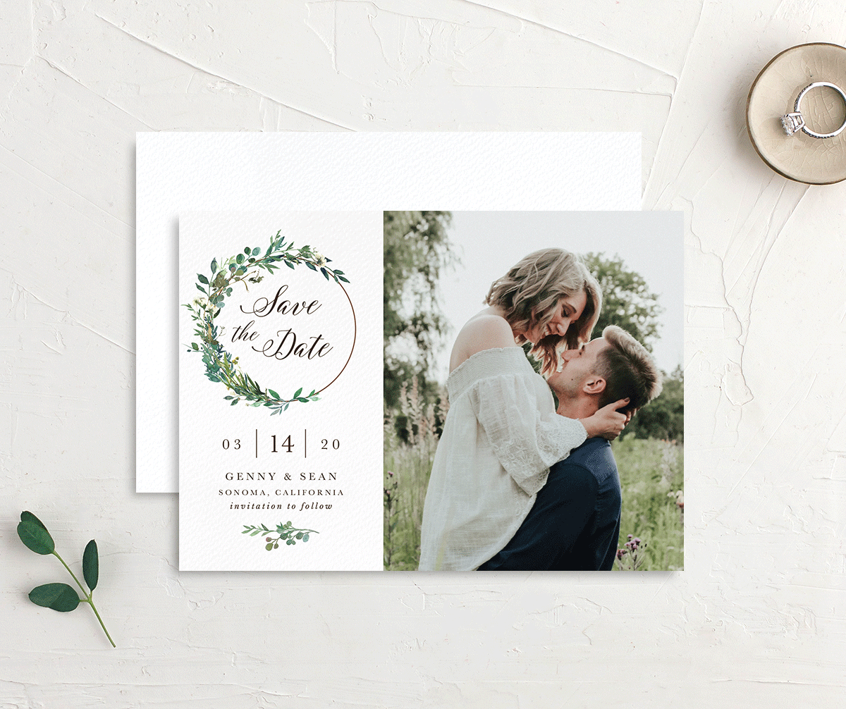 Greenery Hoops Wedding Save the Date cards