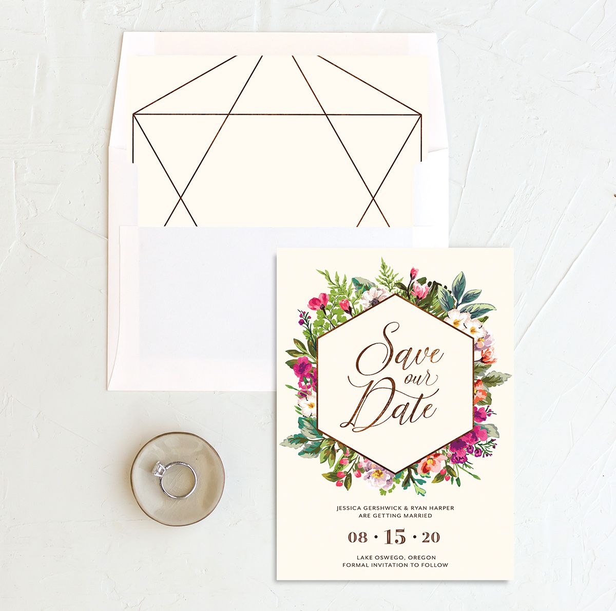 Bronze Floral Frame Wedding Save the Dates with liner
