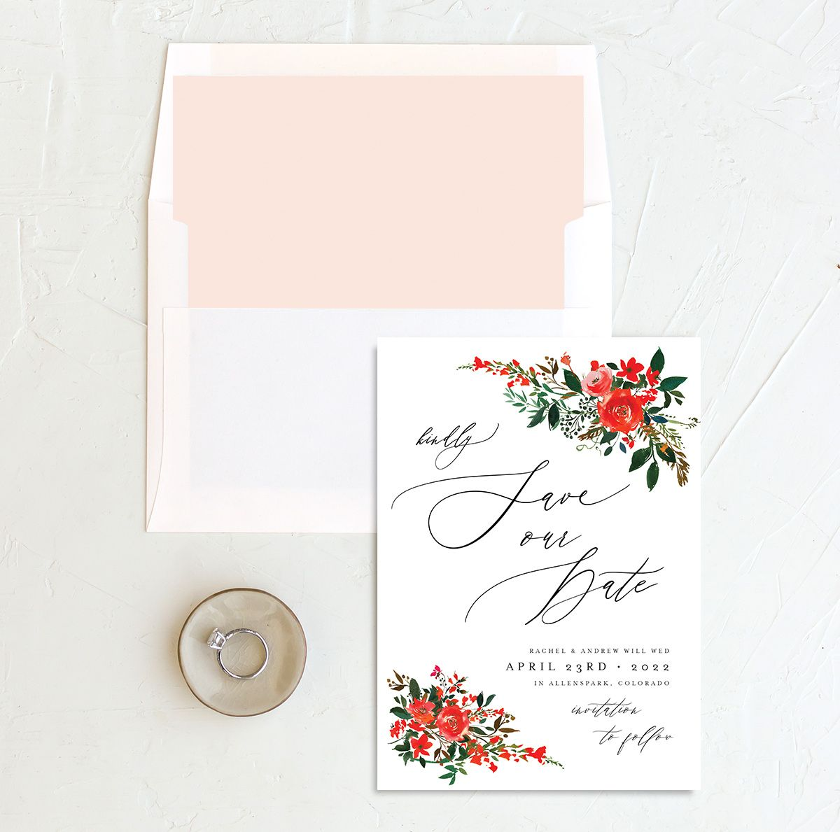 Cascading Altar save the date cards with liner in red