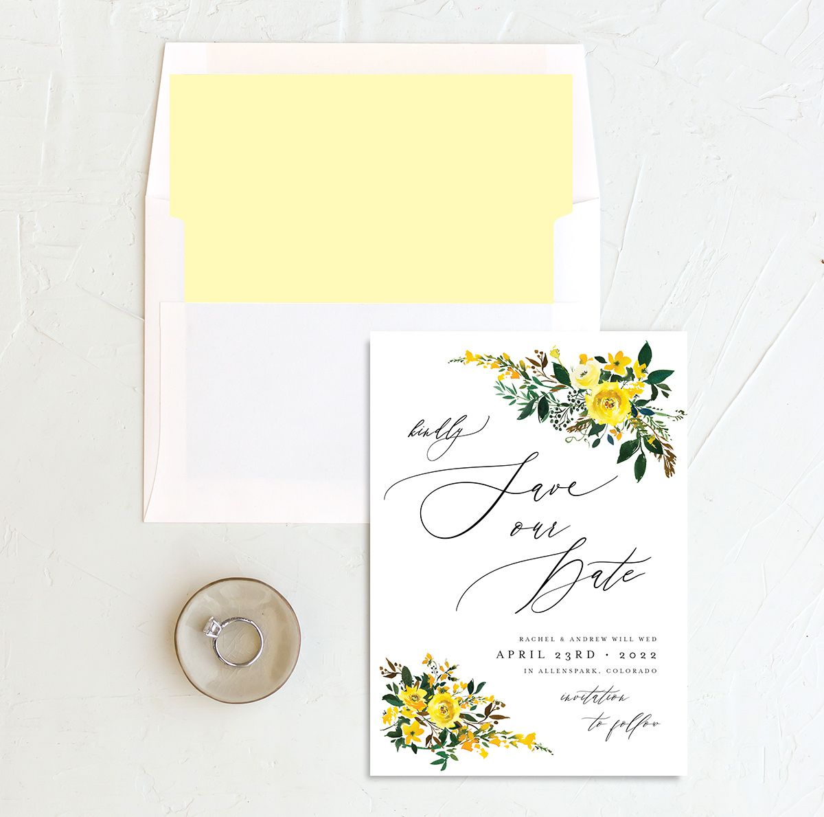 Cascading Altar save the date cards with liner in yellow