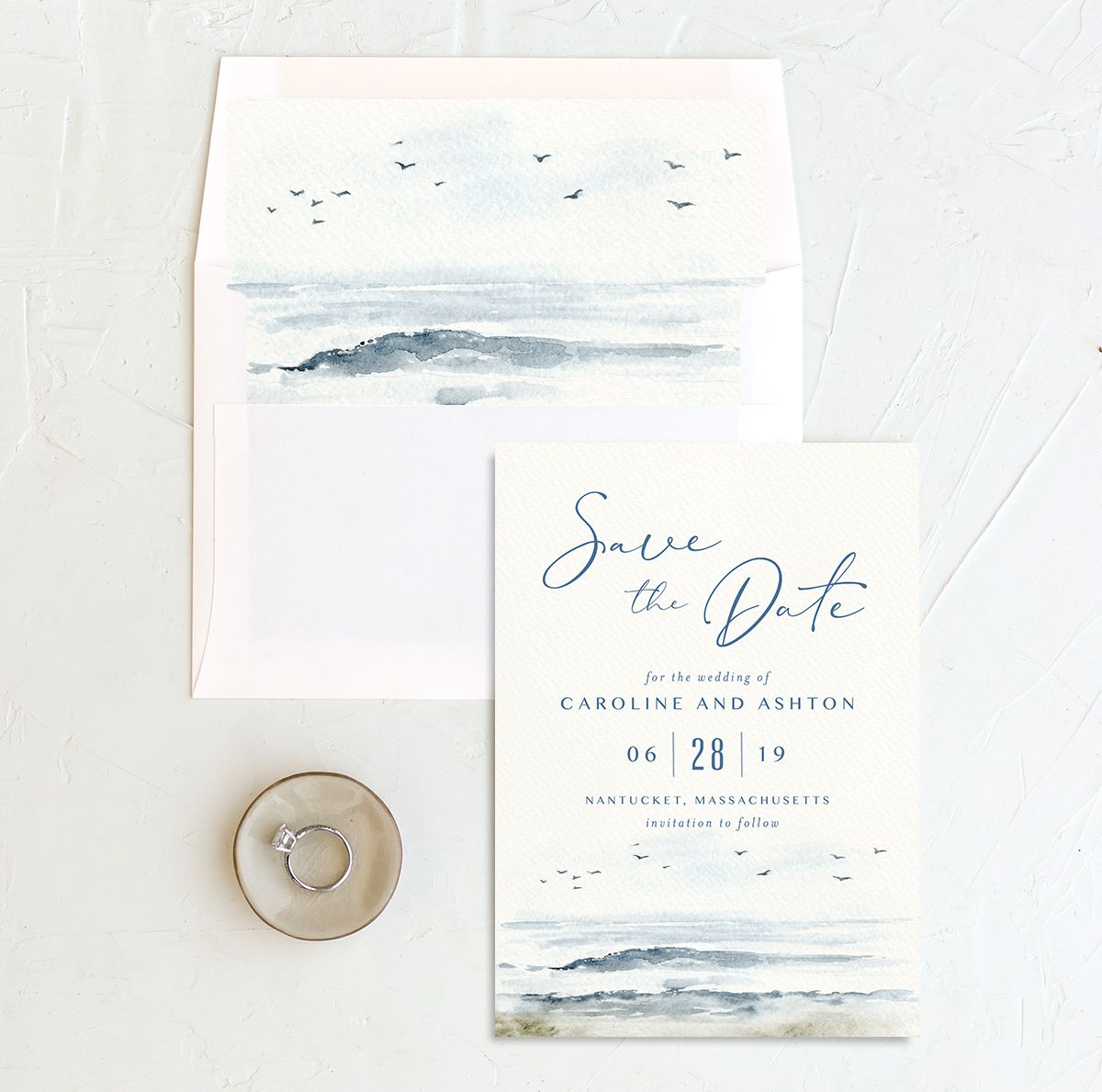 Coastal Love wedding save the date in blue with liner