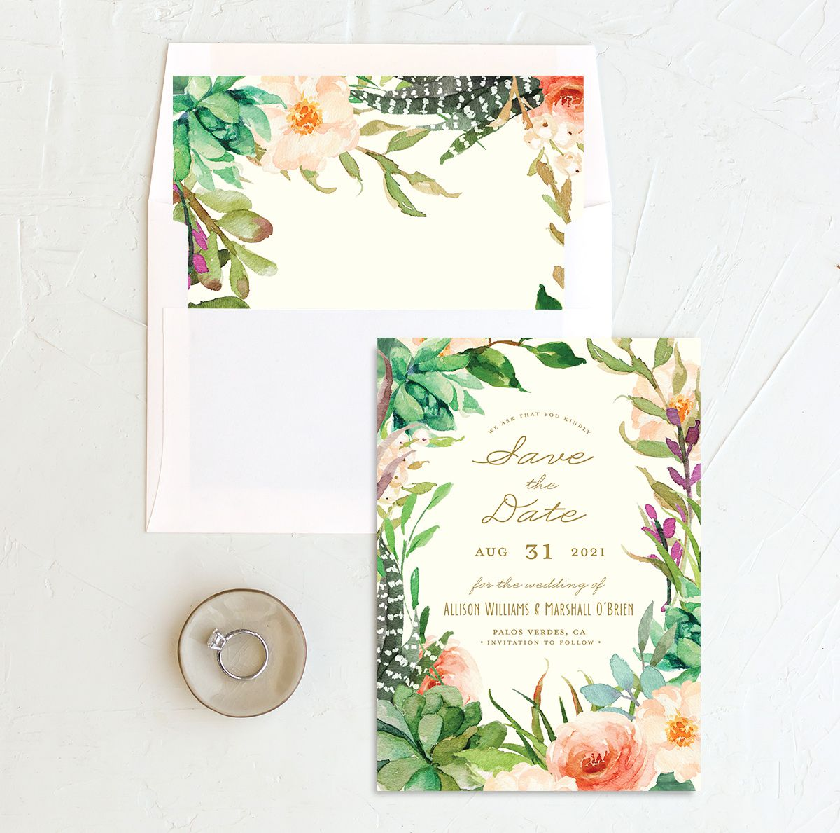 Elegant Oasis Save the Dates with liner