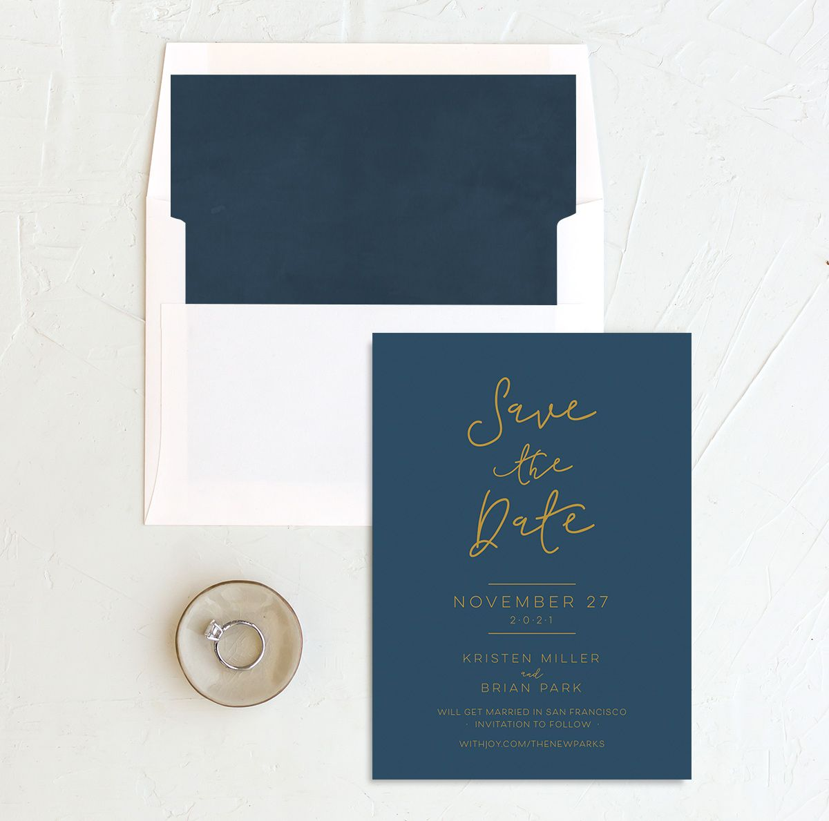 Gold Calligraphy Save the Date blue with liner