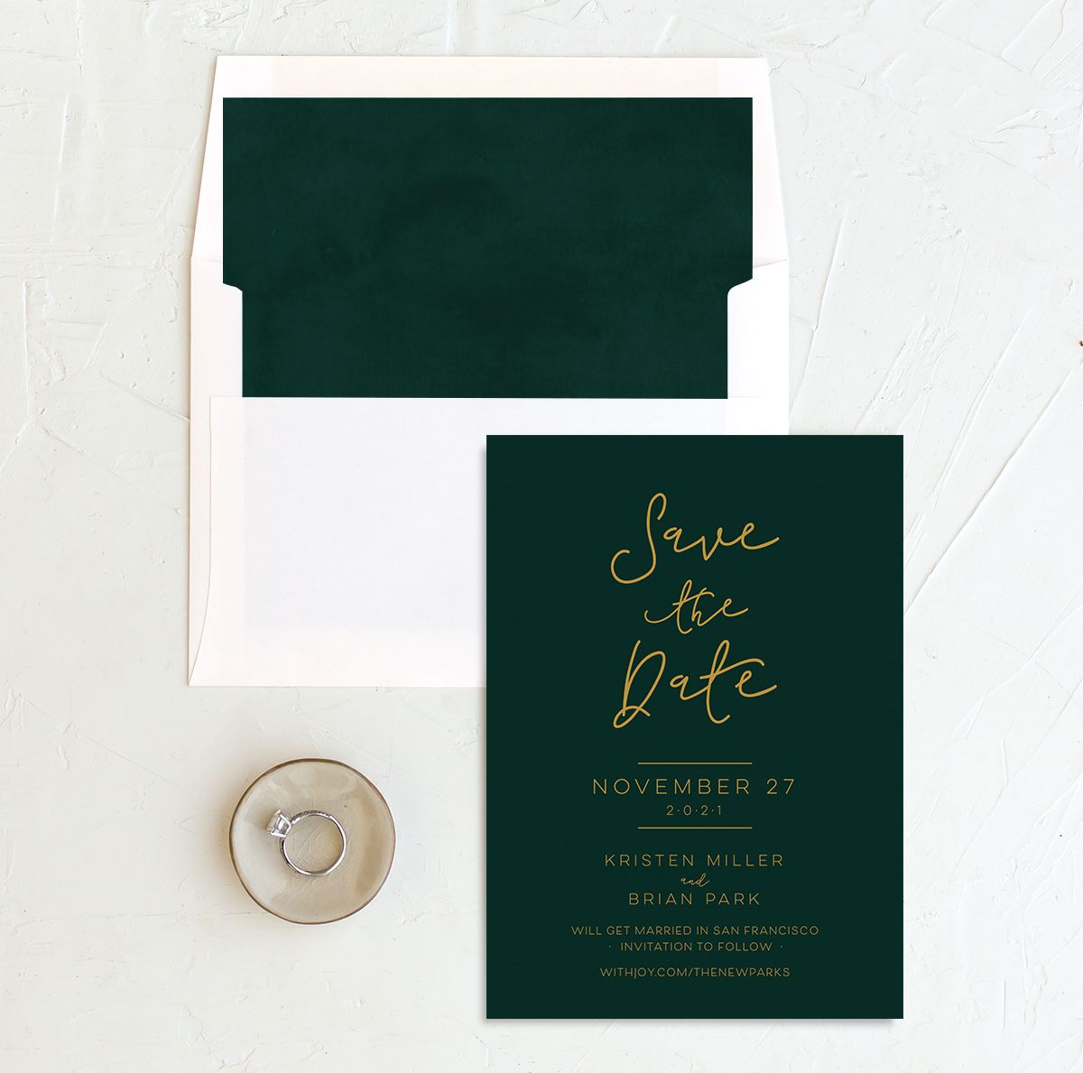 Gold Calligraphy Save the Date green with liner