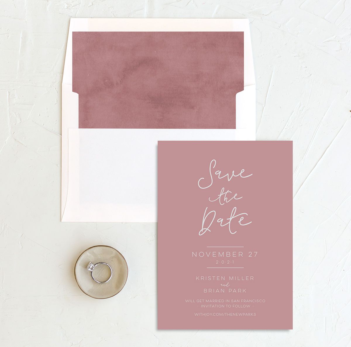 Gold Calligraphy Save the Date pink with liner